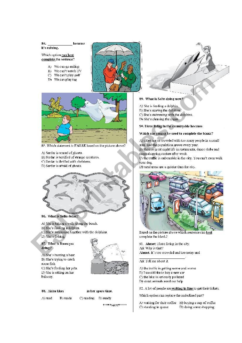 Elementary Revision (part 5) [daily routines, weather,feelings,present simple vs. cont etc..)